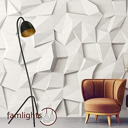 famlights Moderne Stehlampe Sara aus Metall in Schwarz & Gold | Klassische Standleuchte/Leselampe für Schlafzimmer, Couch, Nachttisch | Modern, schlicht, einfach | E27-Fassung max.60W