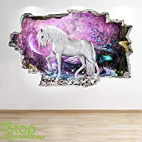 1Stop Graphics Shop UNICORN WALL STICKER 3D LOOK - BOYS GIRLS BEDROOM ENCHANTED WALL DECAL Z672 Size: Large