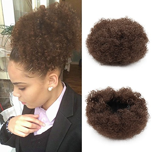 Coulisse puff sintetici ricci onda clip in ponytail breve afro kinky curly wrap ponytail hair extensions wig for african american(#4)