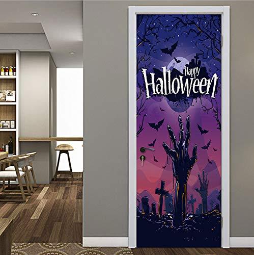 Halloween Dekoration Hände Aus Dem Grab Kreuz Lila Schwarze Nacht Fledermäuse Fliegen Tür Aufkleber Beängstigend Stil Aufkleber Für Schlafzimmer
