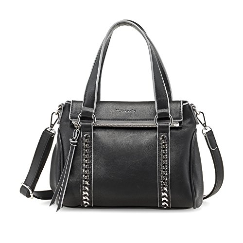 TAMARIS LAURINE Damen Handtasche, Handbag, Henkeltasche, 26x26x10 cm (B x H x T), schwarz Schwarz