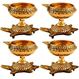 Collectible India Set Of 8 Brass Diya Oil Puja Lamp Engraved Design Dia With Turtle Base For Home Temple Diwali Pooja Articles Decor Gifts (8Pcs)