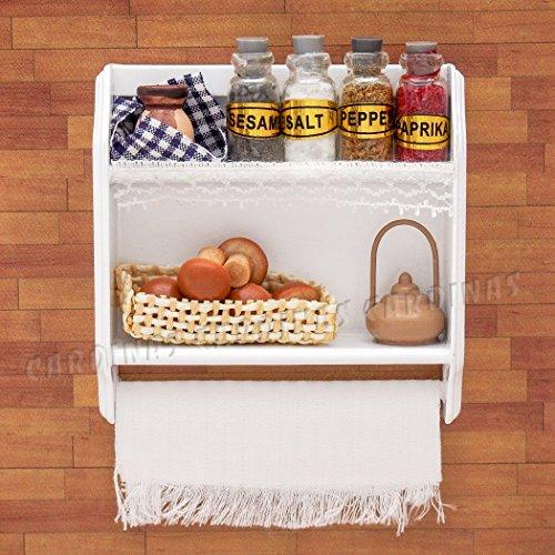 Odoria 1/12 Miniatur Möbel Küchen Hängeschrank Wandschrank mit Flaschen Tassen und Eier Holz Weiß Für Puppenhaus