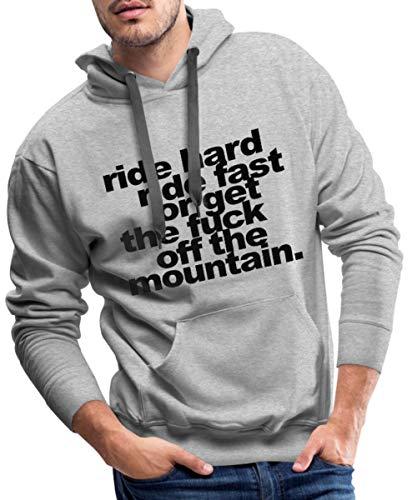 Spreadshirt Ride Hard Ride Fast Skifahren Snowboarden Männer Premium Hoodie, M, Grau meliert