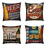 SMILEQ 4PC Home Car Bed Sofa Decorative Letter Pillow Case Cushion Cover (Mehrfarbig)