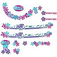 Fahrrad Dekor Satz Aufkleber Rahmen Frame Decal Sticker MC Kenzie Girl Blumen Blau Lila
