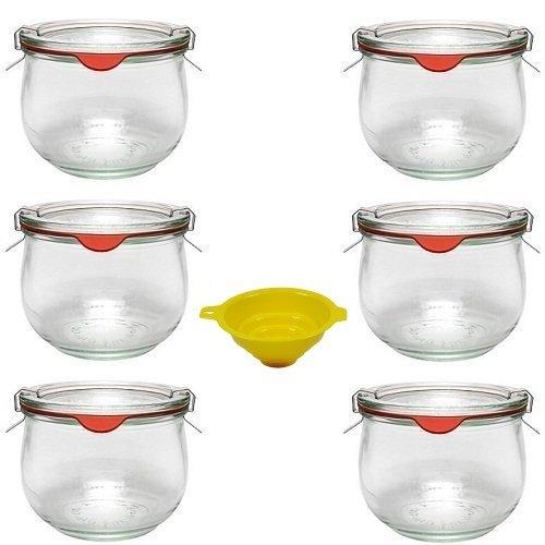 Viva Haushaltswaren G4030500 - Vasetti tondi in vetro per conserve, 6 pezzi, capacità: 500 ml, chiusura meccanica, forma a tulipano, con imbuto in dotazione, colore imbuto: giallo