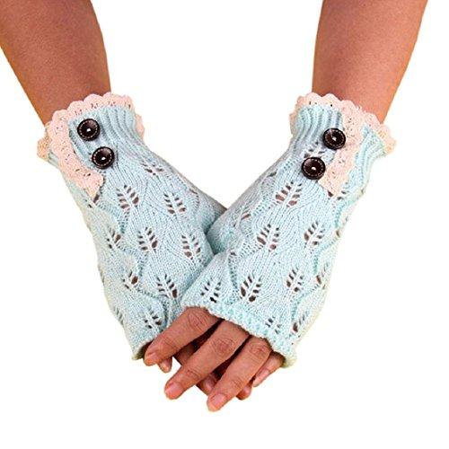 Handschuhe Transer® Damen Warm Winter stricken Handschuhe Fashion Strick Taste Hohl Aus Leaf Warm Handschuhe aus Spitze (Ellenbogen-taste)