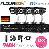 Floureon Cámara de Vigilancia Kit (8CH 960H DVR, 4 Cámara Bala de Seguridad 1200TVL, HDMI, CCTV, H.264, P2P, USB Drive, Nube de Almacenaje)