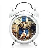 Nachttisch Wecker mit Hintergrundbeleuchtung, batteriebetrieben Reise-Uhr, Runde Twin Bell Laut Wecker (Einzel-Muster) 171.Fu?ball-Kostüm - Hund