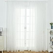 Cortinas de ala brillante, diseño de estrellas plateadas, cortinas de tul para el hogar