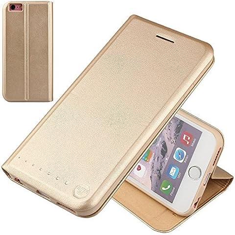 Nouske iPhone 6/6s Plus Funda protectora de tipo Cartera para teléfonos móviles/TPU protección frente a golpes/Estuche para tarjetas de crédito/Soporte/Conciso y Ultra delgado/Hebilla magnética,Oro