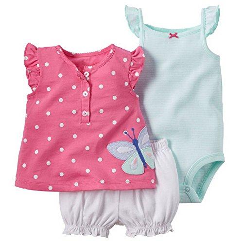 Araus neonata bimba bambina completini e coordinati di cotone magliette a manica corta estiva a fiore con pantaloncini e pagliaccetti 3 pezzi 0-24 mesi