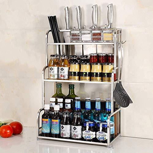 WSJ 304 Edelstahl-Küchenregal, zum Aufhängen an der Würze, Sojasauce, Flasche, Werkzeug, Messer-Ablage, 3 Schichten, 30 lang, mit Essstäbchen (Farbe: kein Schneidebrett), Kein Schneidebrett