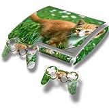 Braune Katze, Designfolie Sticker Skin Aufkleber Schutzfolie mit Farbenfrohem Design für PlayStation 3 Slim