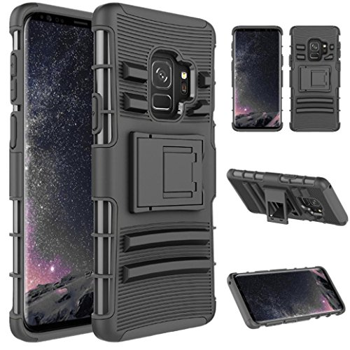 MuSheng For Samsung Galaxy S9 Hülle,For Samsung Galaxy S9 5.8inch Armor Case Hybrid 3 Layers Rubber Hülle Super Luxurious Soft Hülle (Schwarz)