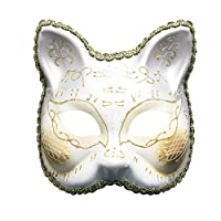Hnks-Home Halloween mask Mask Adult Half Face Party Party Cartoon Venice Painted Mask Creative Carnival Masquerade Novel Halloween costume party (Color : White)