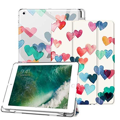 Fintie Hülle mit Pencil Halter für iPad 9.7 2018 - Ultradünn Superleicht Schutzhülle mit transparenter Rückseite Abdeckung Cover mit Auto Schlaf/Wach für iPad 6. Generation, Herzregen (Ipad 64gb Wifi 4g)