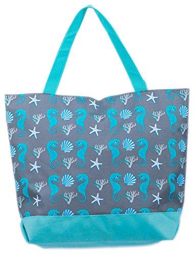 Airee Fairee Bolsa de Playa Bolso de Mano con Patron de Hipocampo y Caracola (Hipocampo y Coquille Azul)
