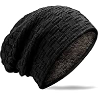 MUCO Mens Womens Hat Beanie Cap Unisex Winter Warm Knitted Hats Fleece Lining Slouch Skull Beanies Caps For Men Women