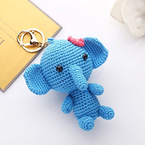 PLL Korea Creative Wool Knit Cute Elephant Car Keychain Key Chain Ms. Bags Packages
