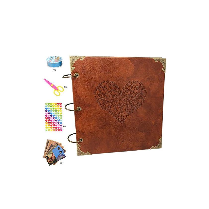 Guwheat Scrapbook Album, Leder Fotoalbum Retro Album Hochzeit Gästebuch DIY Vintage Scrapbook Schwarze Seiten Fotobuch, für Geburtstags Jahrestag Geschenk 1