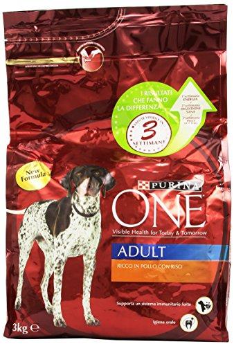 PurinaOne - Alimento Completo Per Cani Adulti, Ricco In Pollo Con Riso , Kg.3