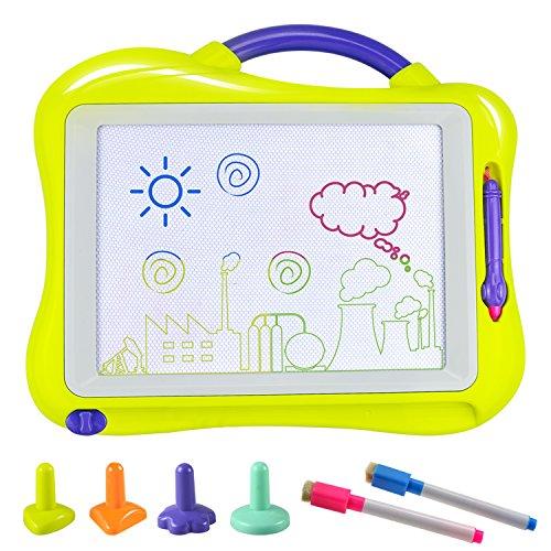 Tablero de Dibujo, Fixget Almohadilla Borrable Infantil Tablero Pizarra Magnética Colorido con 2 Lápices de Dibujo, Magnético Multicolor Borrable para el Desarrollo Habilidades Regalo de juguetes Dibujar de Bebé Niños Juguete para Niños