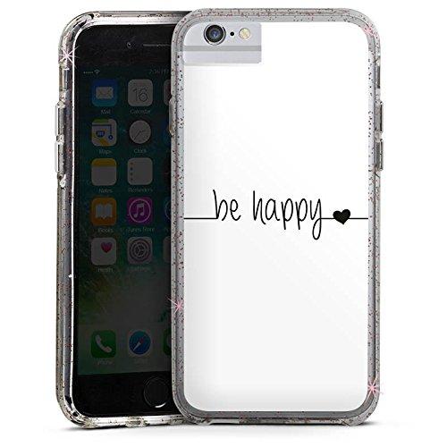 Apple iPhone 7 Bumper Hülle Bumper Case Glitzer Hülle Happy Happiness Spruch Bumper Case Glitzer rose gold