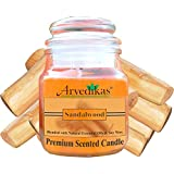 Arvedikas Natural Soy Wax Candle Blended With Sandalwood Essential Oil & Soy Wax With Luxury Aroma Fragrance - Aromatherapy & Glass Jar - Premium Scented Candle - Special Gifts For Diwali
