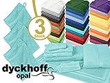 Frottiertücher der Serie Opal - erhältlich in 33 modernen Farben und 7 verschiedenen Größen -Markenqualität von Dyckhoff, 1 Pack (3 Stück) - Waschhandschuhe [16 x 21 cm], türkis