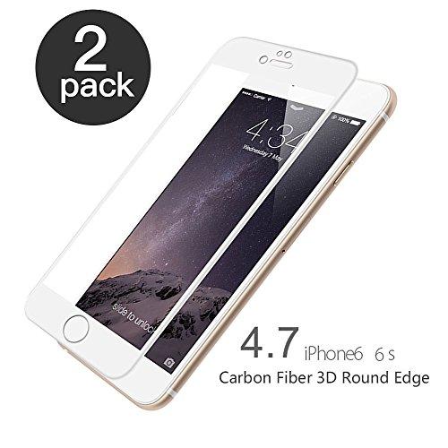 aiMaKE Panzerglas Schutzfolie kompatibel mit iPhone 6/6S, 2 Stück schutzfolie panzerglas 3D-Ebene Ultra-klar 9H Härte 4.7 Zoll,Carbon Fiber 3D Round Edge,Ultra-dünn Folie (nur 0,25mm Weiß)