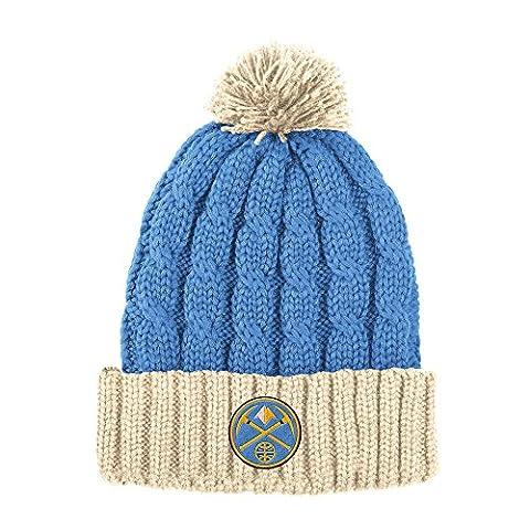 NBA Denver Nuggets Men's X-Mas Cuffed Knit Pom, One Size, Light Blue/Cream