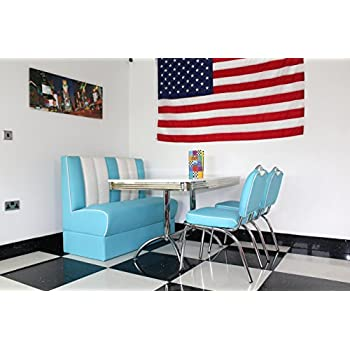 Just-Americana.com American Diner Furniture 50s Style Retro High White Table, 1 Booth and 2 Blue Chairs