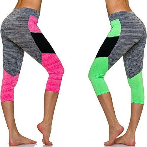 Adiyaro - Legging - À Rayures - Femme Set: Pink + Green