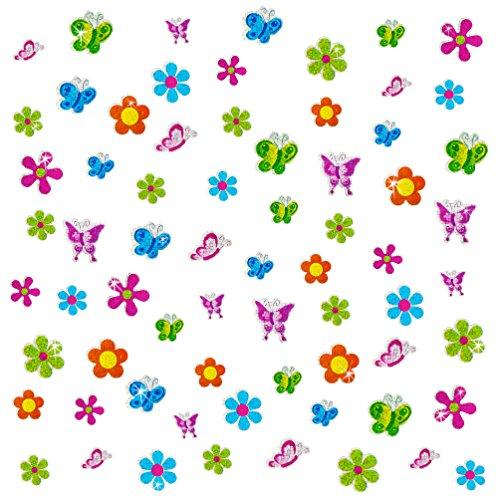 8 x Glitzer Sticker Blumen & Schmetterlinge bunt - Regenbogen Sticker für Kinder ()