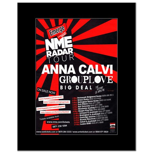 Music Ad World Mini-Poster Anna Calvi - NME Radar Tour 2011, 28,5 x 21 cm Ad Radar