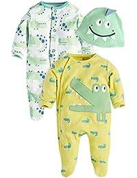 Amurleopard lot de 3 Bebe fille garcons 2 grenouillere pyjama animaux avec 1 bonnet
