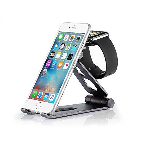 2in1HandyStänder,MoreslaniPhoneDock AppleWatchStänderHandyHalter ipad Ständer Phone Stand Multi-WinkelHandyhalterungfürAppleWatch/iPad/iPhone X/8 plus/7/6/5s/Samsung/Huaweiusw.