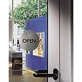 LEMAX® Schild Piktogramm Wendepiktogramm Open/Closed mit Kette Ø130mm, Edelstahl