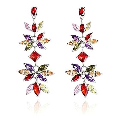 AnaZoz Bijoux Femme Boucles d'Oreilles Fantaisie Incrusté Cristal Autrichien Plume Amour Aile Feuilles Multicolore Pendants d'Oreilles