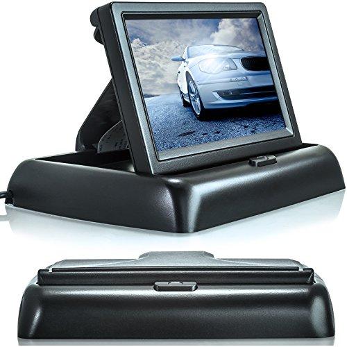 XOMAX XM-M4301 Auto Monitor für Rückfahrkamera, 4,3 Zoll (11 cm) Farb-Display, 16:9 Breitbild, 12V Betrieb, mit Lautsprecher, Audio-Video Anschlüsse über Cinch RCA, aufklappbar