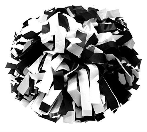 erleading Pompons mit Taktstock Griff (Schwarz/ Weiß) ()