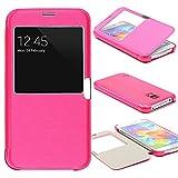 Urcover View Case Handy Schutz-Hülle   Samsung Galaxy S5   Hart Kunststoff Pink   Elegant Wallet Cover Sicht-Fenster   leichte Schale dünne Tasche