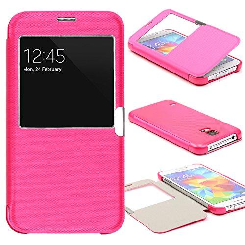 Urcover® View Case Handy Schutz-Hülle | Kompatibel mit Samsung Galaxy S5 Mini | Hart Kunststoff Pink | Elegant Wallet Cover Sicht-Fenster | leichte Schale dünne Tasche (Entsperrt S5 Mini)