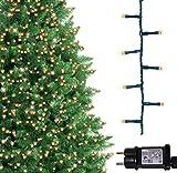 Luci natalizie per interni e esterno 1000 LED albero luci Bianco Caldo, 8 modalità con memoria e funzione timer, alimentate, trasformatore incluso 25m Lunghezza illuminata- CAVO VERDE