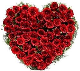 Floralbay Special Heart Shape Arrangement of 50 Red Roses Fresh Flowers
