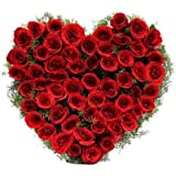 Floralbay Special Heart Shape Arrangement of 50 Red Roses Fresh Flowers