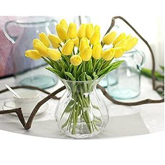 Dylandy – Ramo de flores artificiales de tulipán para decoración de casa, cocina, salón, comedor, mesa de boda, centros de decoración, 10 piezas, amarillo, Length: 32cm
