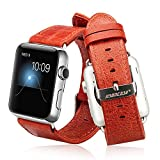 Jisoncase KLASSISCH Apple Watch 38 mm ECHTLEDER Armband mit hochwertigem Edelstahl Adapter Uhrenarmband in rot JS-AW3-05A30